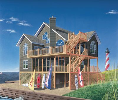 """Beach Home Plan is not really a specific style of house plan, preferably it is a type of house plan that you might associate with the beach and casual living. Please refer to plan No. 5-846 with these details: Bedrooms: 5, Full Baths: 3, Half Baths: 1, Levels/Stories: 2, Total Sq. Ft. 2392, Main floor: 967, Upper floor: 1076, Third floor: 349, Width: 39' 8"""", Depth: 36' 8"""", Height: 40' 5"""", Walls: 2""""x6"""", Ceiling Height (Main): 8' ,Ceiling Height (Upper): 8'."""