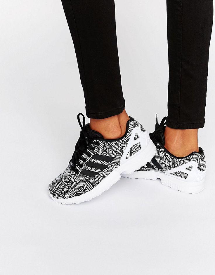 Adidas Originals Black Print Zx Flux Trainers With Side Stripes