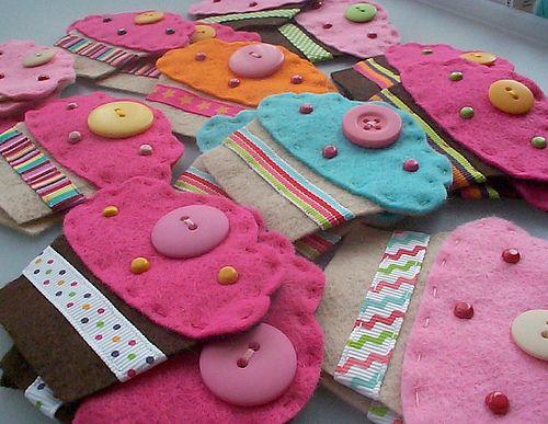 Felt cupcakes with brad embellishments
