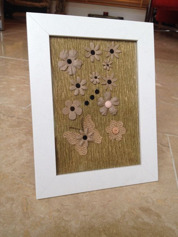 Beige Flower Butterfly Picture Frame Wall Hanging by IantheFrames