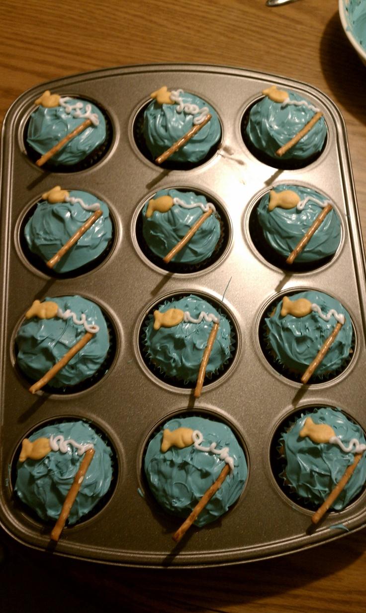 fisherman cupcakes !Cute Cupcakes, Cupcakes Ideas, Husband Birthday Cakes Fishing, Cupcakes Lov, Boys Bday, Fishermans Cupcakes, Fish Cupcakes, Fishing Poles, Fishermen Cupcakes