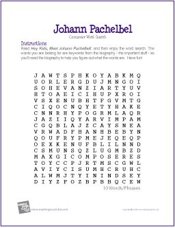 Johann Pachelbel | Composer Word Search Worksheet - http://makingmusicfun.net/htm/f_printit_free_printable_worksheets/johann-pachelbel-word-search-worksheet.htm
