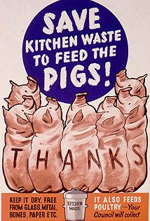 "Several pigs arranged in a semi-circle at the foreground, looking towards the centre and the words ""Save Kitchen Waste to feed the Pigs!"". ""..."