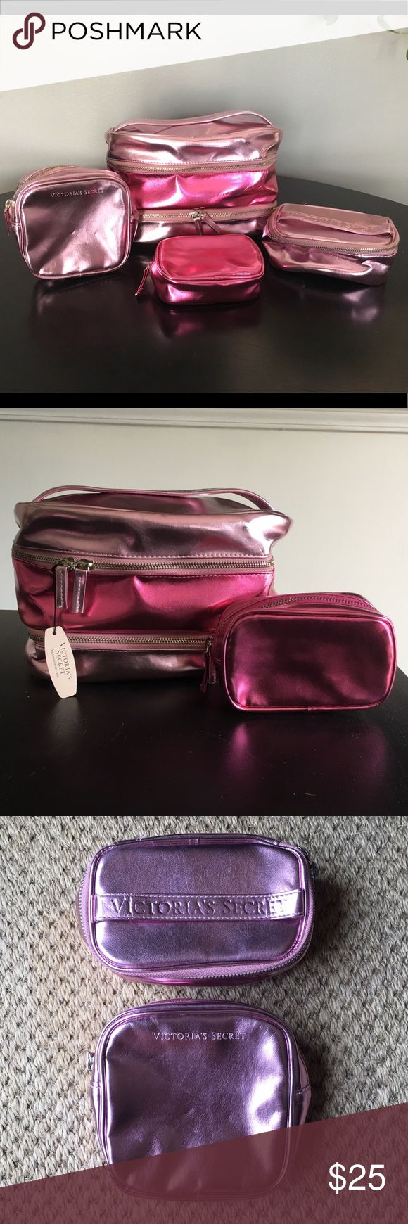 Victoria's Secret Train Case Set 4-piece set. The large case and small, dark pink case have not been used. The two lighter pieces have been gently used. I did stuff the large case with grocery bags to help keep its shape. There are some crease marks but otherwise all are in good condition. Victoria's Secret Bags Cosmetic Bags & Cases