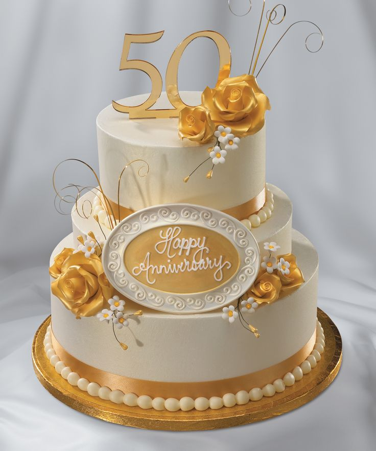 A Golden Anniversary Cake To Celebrate 50 Years Of Marriage I Do
