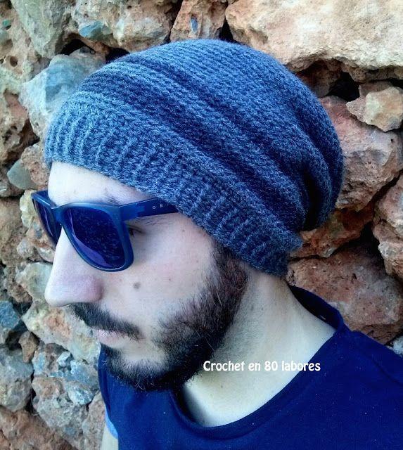 Crochet en 80 labores: Gorro slouchy beanie para hombre