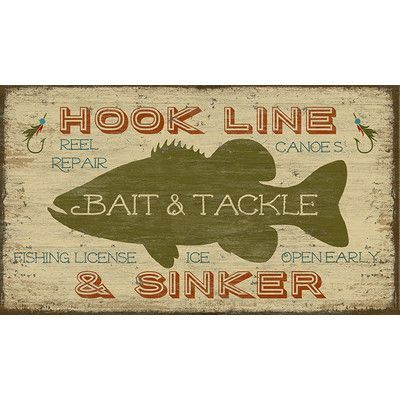 """Vintage Signs Bait and Tackle by Suzanne Nicoll Graphic Art Plaque Size: 25"""" H x 40"""" W"""