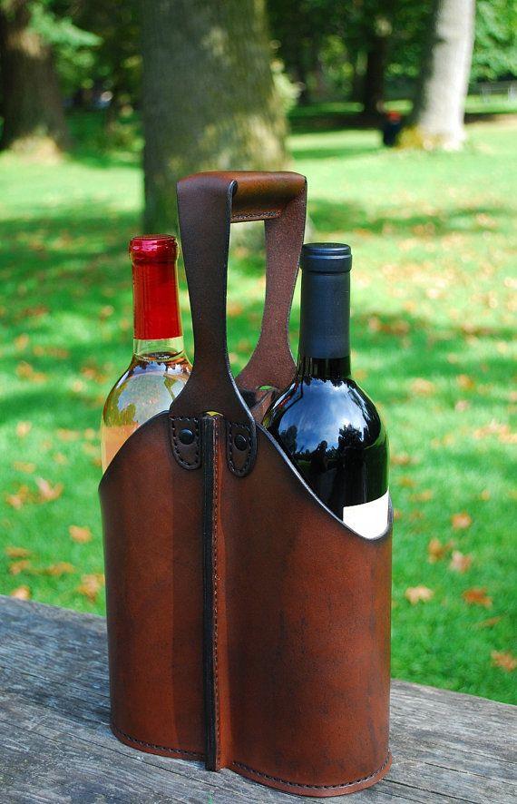 Carrito doble botella de vino de cuero por JMcMahonDesigns en Etsy