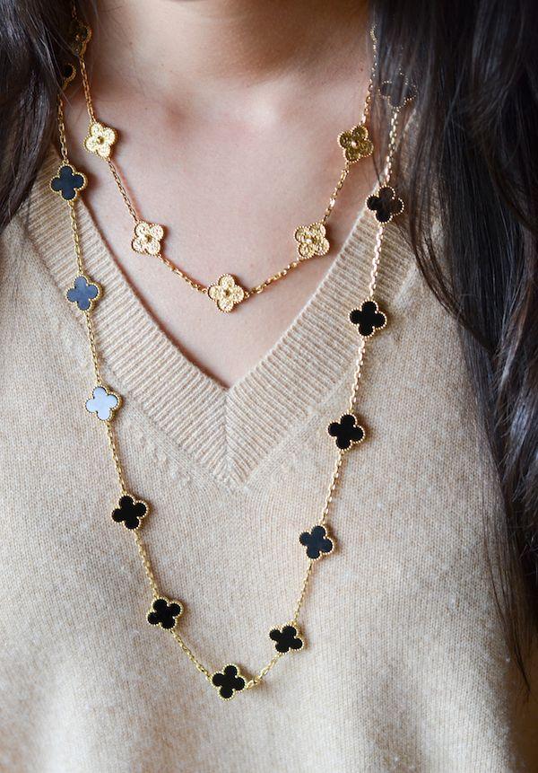 Van Cleef Arpels Vintage Alhambra necklace YG 10 motifs extend my YG 10 motifs MOP YG 5 motifs MOP