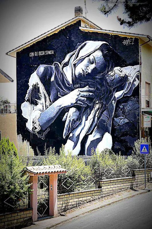 Con gli occhi stanchi Murale di Luis Gomez de Teran a Selci in Sabina (RI) Orgo Solo - google+