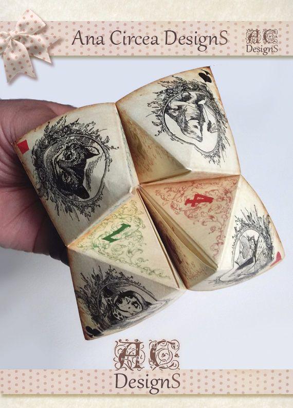 Alice in wonderland inspired Origami Fortune Teller . cootie catcher . game . DIY toy . printable Instant DOWNLOAD. Paper Crafting . Favor.