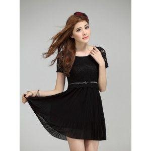 short sleeve lace chiffon dress-black