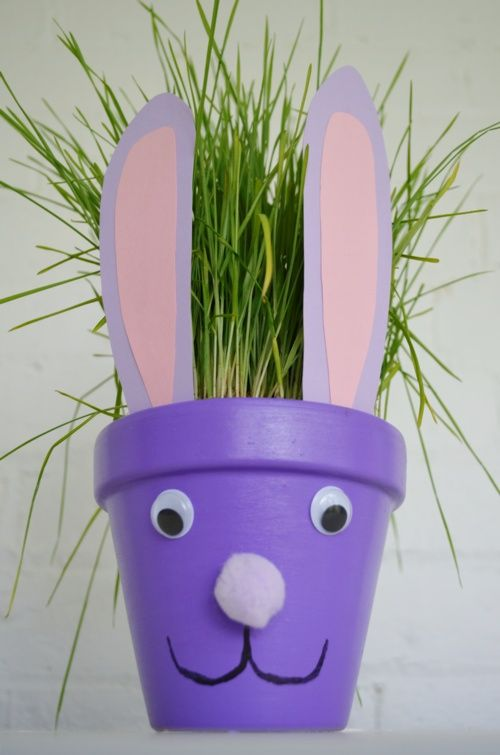 Easter bunny flower pot craft