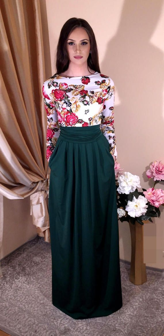 a132b4afd6d Floral Satin Roses Maxi Dress Long Sleeves Red Green Burgundy ...
