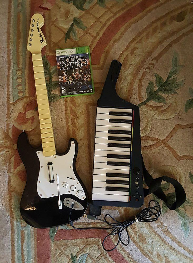 Rock Band GUITAR KEYBOARD BUNDLE XBOX 360 GAME CONTROLLER BEATLES ROCKBAND 1-3