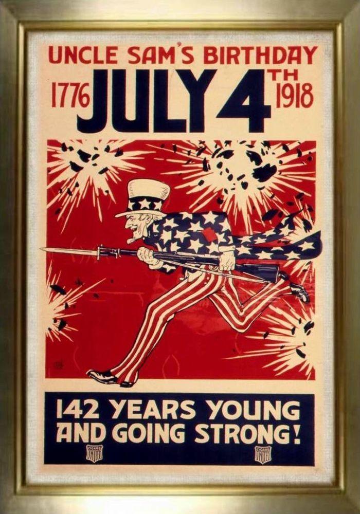 MAGNET PATRIOTIC Photo Magnet Uncle Sam's Birthday July 4 1918