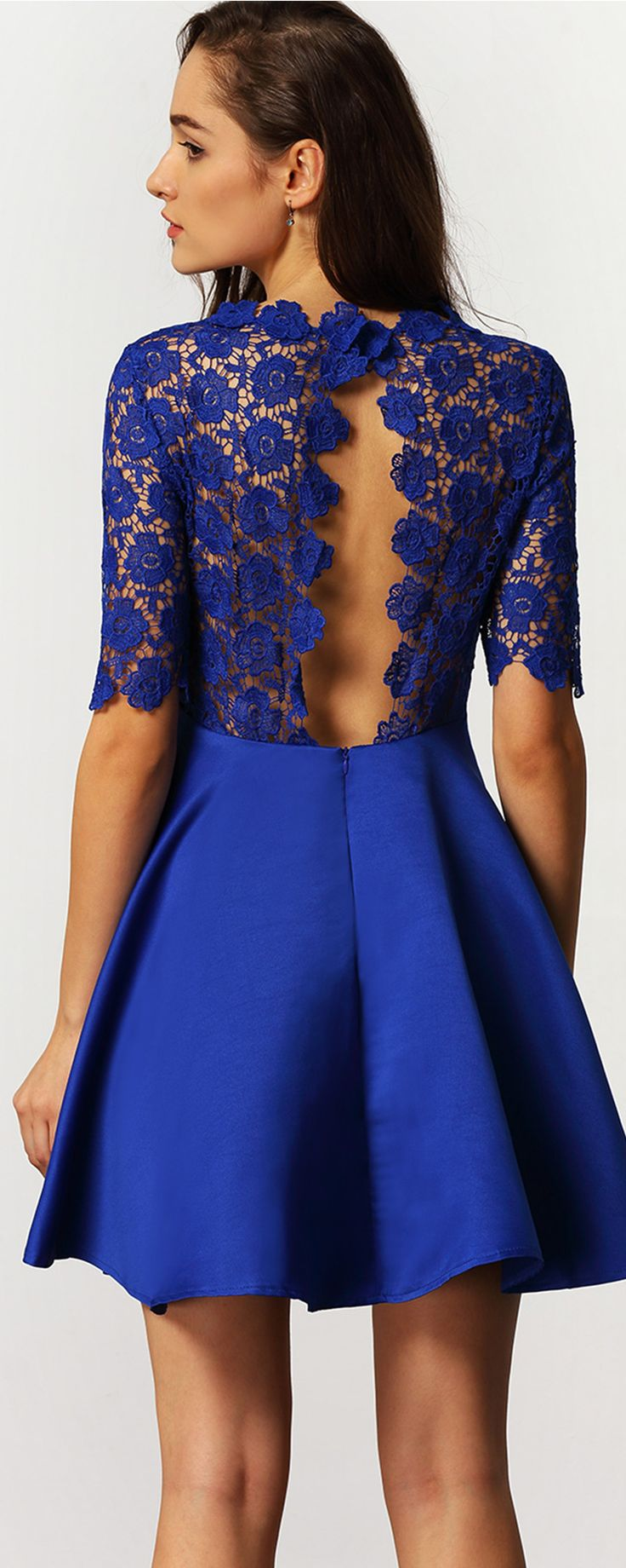 Charming Dresses from shein.com - Blue Half Sleeve Elbow Sleeve Backless Scallop With Lace Flare Dress