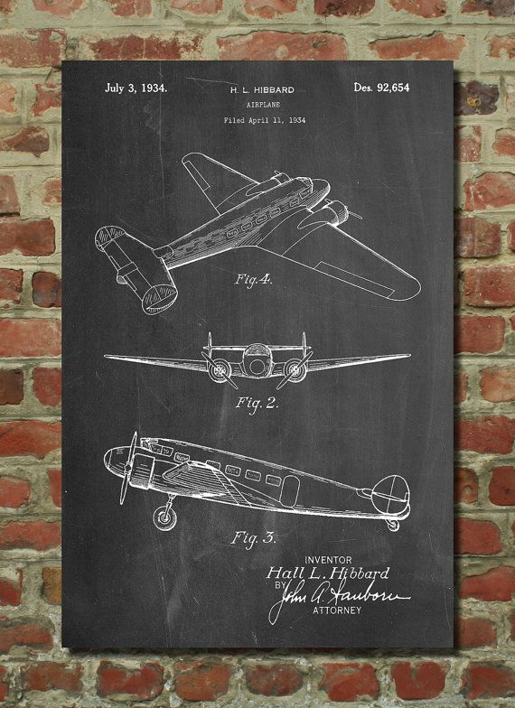 Lockheed Electra Airplane Patent Poster, Airplane Wall Art, Aviation Decor, Plane Nursery, Air Force Gift, PP945