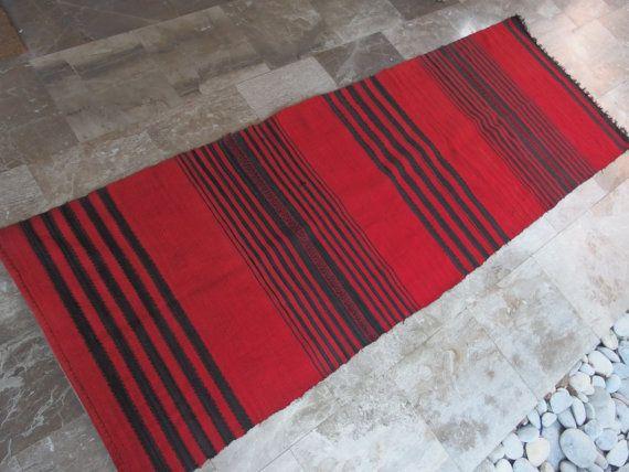 #Stripes #Red #Black #Vintage #cotton #Rug #Runner  by #VintageHomeStories Rustic #home #Decor #Kitchen #hallway #warmth