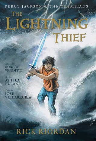 """""""Percy Jackson and the lightning thief"""", by Rick Riordan & Robert Venditti & Attila Futaki & Jose Villarrubia & Orpheus Collar & Chris Dickey - After learning that he is the son of a mortal woman and Poseidon, god of the sea, twelve-year-old Percy is sent to a summer camp for demigods like himself, and joins his new friends on a quest to prevent a war between the gods."""