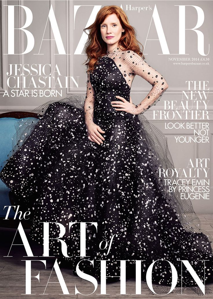 The beautiful Jessica Chastain is the star of Bazaar's November 2014 art issue