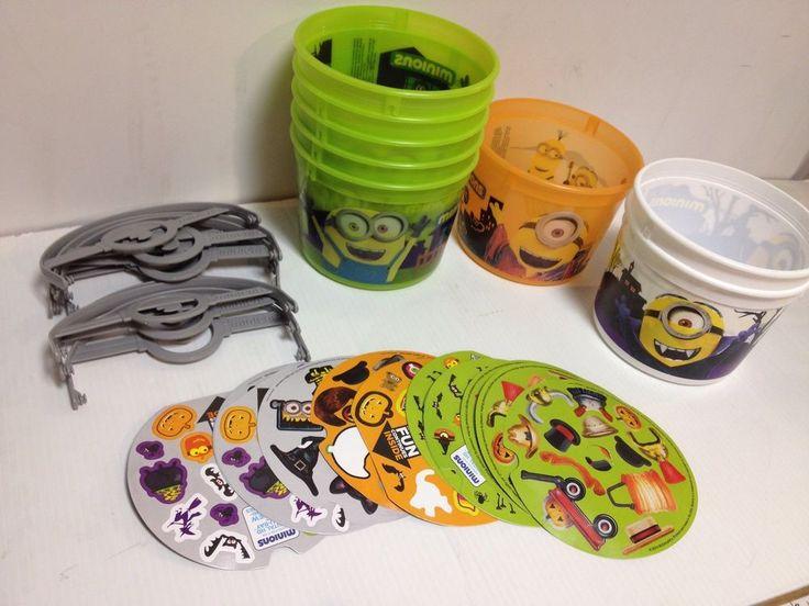8 Minions McDonald's Halloween Buckets With Stickers  #McDonalds