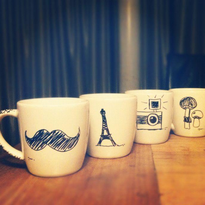 DIY mugs + sharpie and oven