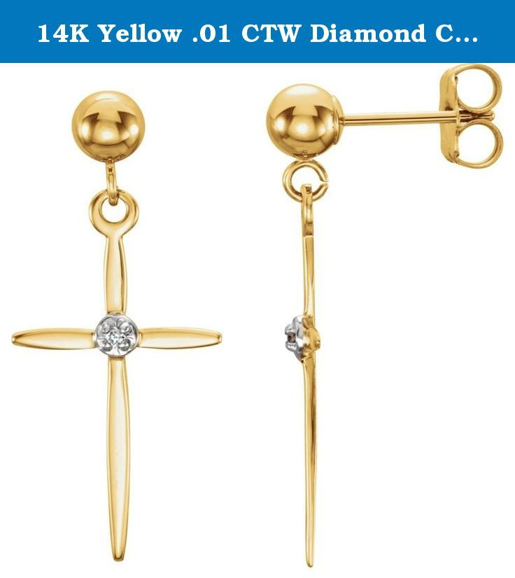 14K Yellow .01 CTW Diamond Cross Earrings. 14K Yellow .01 CTW Diamond Cross Earrings.