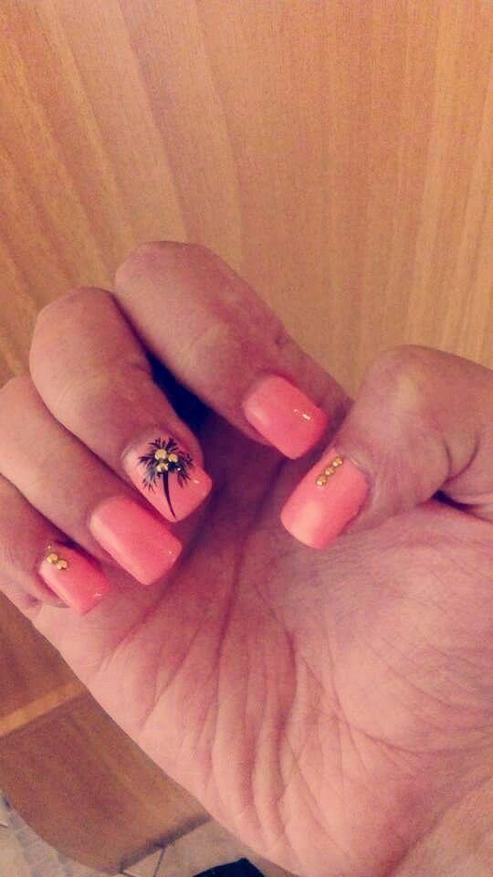 #summer #fashion #nails #2015 #peach #design #tree