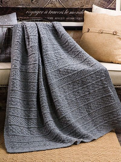 "Easy-to-stitch, cozy afghan from Annie's Signature Designs.   Made to mimic the beautiful texture and coziness of an old-time fisherman's sweater, this gansey afghan will keep you warm through all the chilly months. Knit with 8 skeins of Plymouth Yarn® Encore® Tweed using U.S. size 9/5.5mm 40"" circular needle. Finished size is approximately 44"" x 50"". Pattern includes charted instructions only."