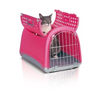 Panier de transport Linus Cabrio rose pour chat