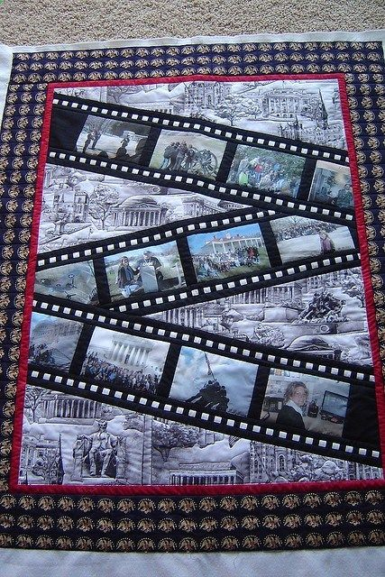 What a cute idea for a memory #quilt - filmstrips with photo blocks across the quilt. This might be a great idea for the Harry Potter quilt or Doctor Who quilt I would like to make.