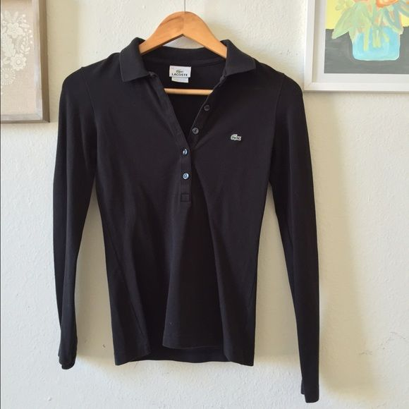 Black Lacoste Long Sleeve Polo Classic Black long sleeve cotton polo shirt with green crocodile logo. 🐊 5 buttons down front center. Worn a few times but in Great condition. Photo of model is a stock photo online that's used to show you what the shirt looks like on. The other photos are of my shirt that's for sale. No trades😊 Lacoste Tops Button Down Shirts