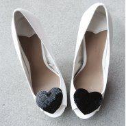 KIss Paris/BLack - klipsy do butów Cekinowe czarne serca, 100 % glamour!