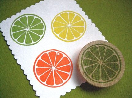 Really like this Citrus Slice Hand Carved Rubber Stamp, Lime, Lemon, Orange by drumchick99 on Etsy