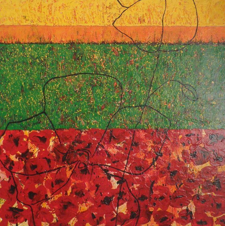 Zomer uit de 4 jaargetijden, schilderij van Vera Wilting | Abstract | Modern | Kunst