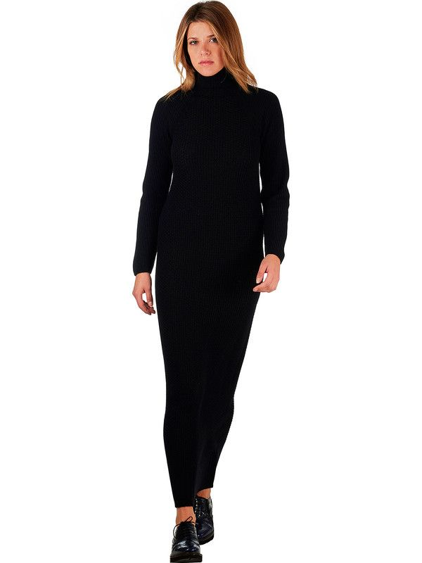 Long black wool dress with turtleneck Mariani Made in Italy