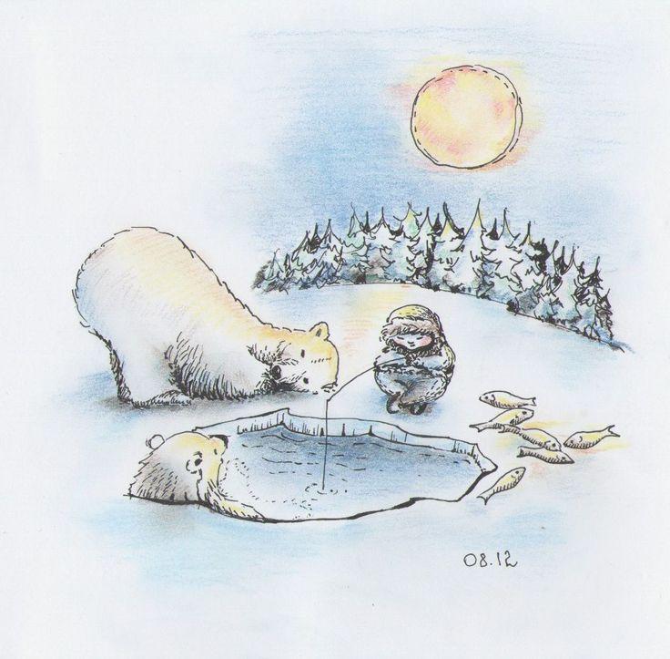 """Ice-hole"". Polar bears and the boy - fishing. Vassa Ponomarjova"