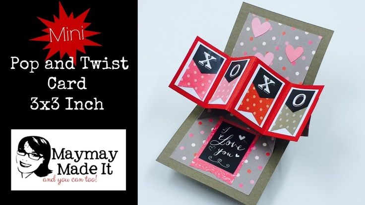 Thanks to Lyn for asking me to make this miniature version of the Pop and Twist Card, it is super fun to make and easy. Perfect for your Valentine's Day card...