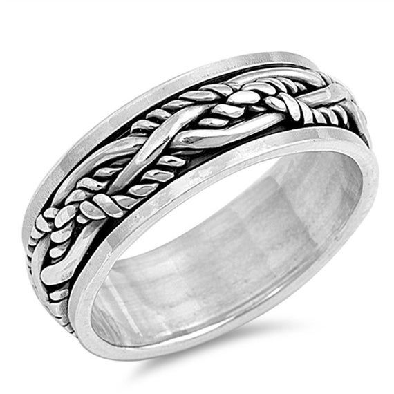 Sterling Silver Wedding Band Oxidized Finish Braided Spinner Ring Size 7 to 13