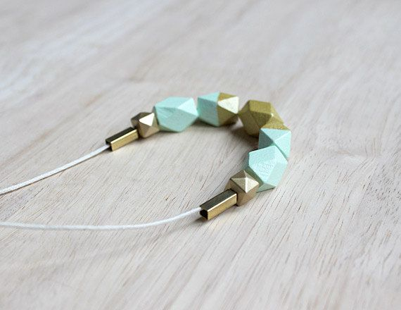 wooden geometic necklace // mint gold dipped necklace for girls, women - modern minimalist everyday jewelry on Etsy, kr136,87