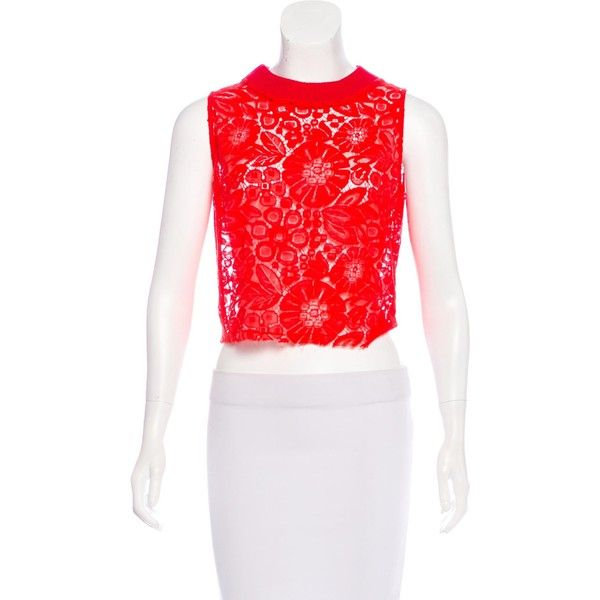 Pre-owned Rachel Comey Lace Sleeveless Top (€42) ❤ liked on Polyvore featuring tops, red, red sleeveless top, lace tank, lace tank top, red lace top and red tank top