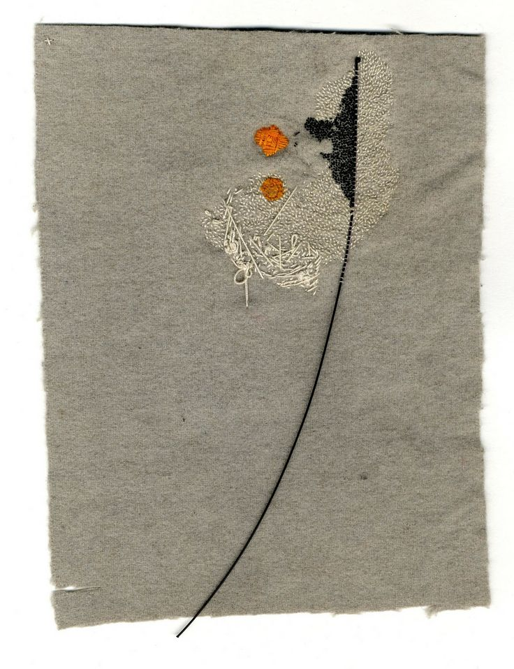 Contemporary Neutral Tones Embroidery and Collage. Mixed Media Textile Art, Textile artist Artist Study Richard McVetis , Resources for Art Students , Art School Portfolio Works #CAPI #Textiles