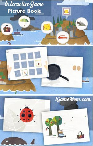 Interactive Game Picture Book App - no words in the app. Kids play simple games to learn the stories, practice fine motor skills at the same time #kidsapps