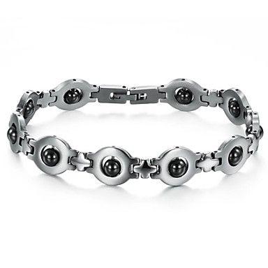 zwart galsteen anti-vermoeidheid anti-straling man titanium stalen armband - EUR € 8.05