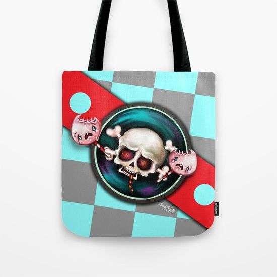 My skull & crying candy art is on totebags and other creepy cute stuff over at my Society6 store. https://society6.com/sarahmwall -  It's even on blankets, comforters and bath mats.  The product range just keeps getting better ;-)  © Sarah M Wall 2017.