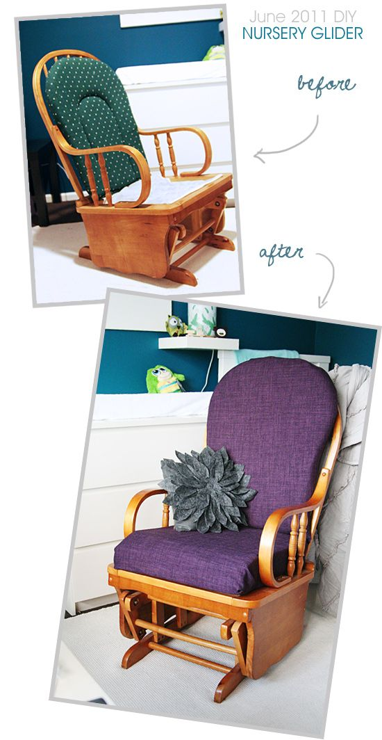 Mikayla DIY'd a Nursery Glider Chair Cover and turned it into a purple beauty!