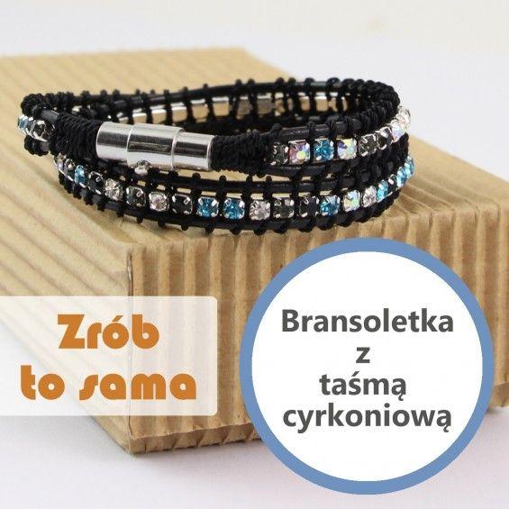 Bransoletka owijana z taśmą cyrkoniową Wrap bracelet