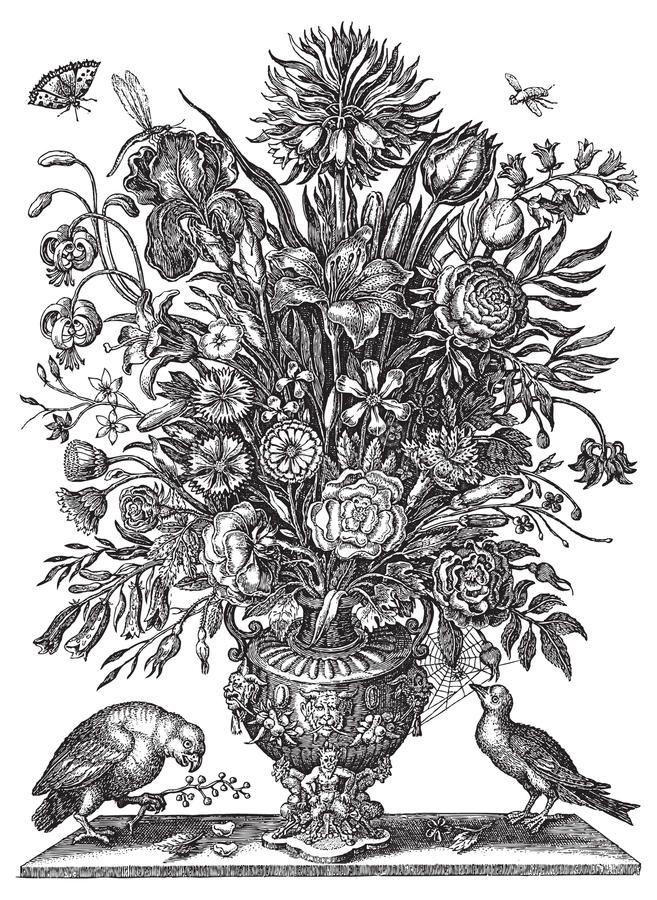 Vector Victorian flower bouquet in vase with birds. Black