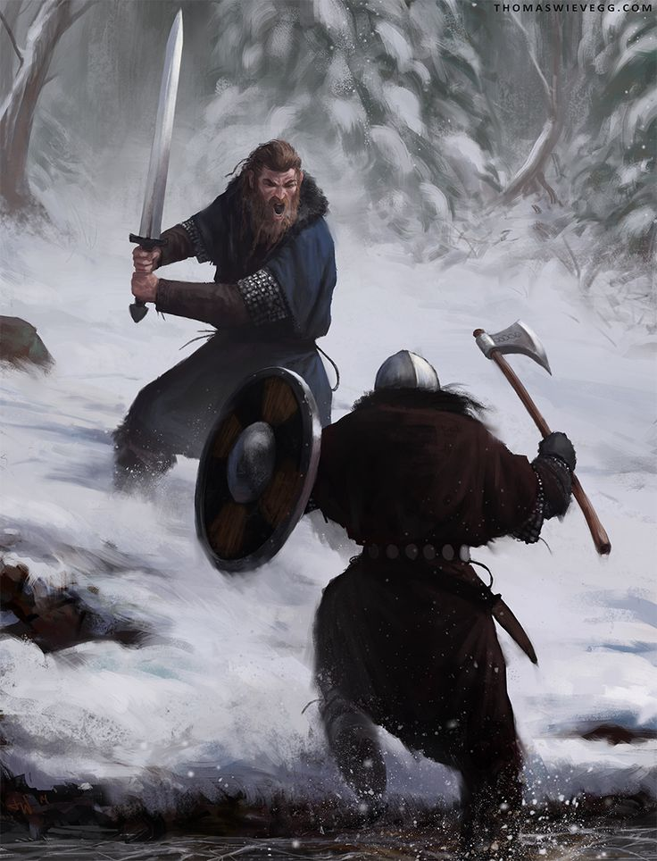 Snow Battle by thomaswievegg viking battle sword axe shield fighters barbarians soldiers player character npc | NOT OUR ART - Please click artwork for source | WRITING INSPIRATION for Dungeons and Dragons DND Pathfinder PFRPG Warhammer 40k Star Wars Shadowrun Call of Cthulhu and other d20 roleplaying fantasy science fiction scifi horror location equipment monster character game design | Create your own RPG Books w/ www.rpgbard.com